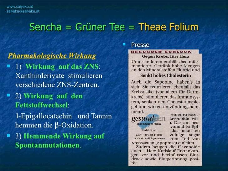 Sencha = Grüner Tee =  Theae Folium <ul><li>Pharmakologische Wirkung </li></ul><ul><li>1)  Wirkung  auf das ZNS :  Xanthin...