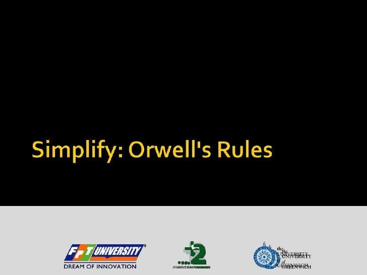 Simplify: Orwell's Rules<br />