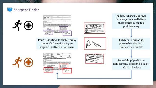 Každou lékařskou zprávu analyzujeme a ukládáme charakteristiky razítek, podpisů a log Každý další případ je porovnán s dat...