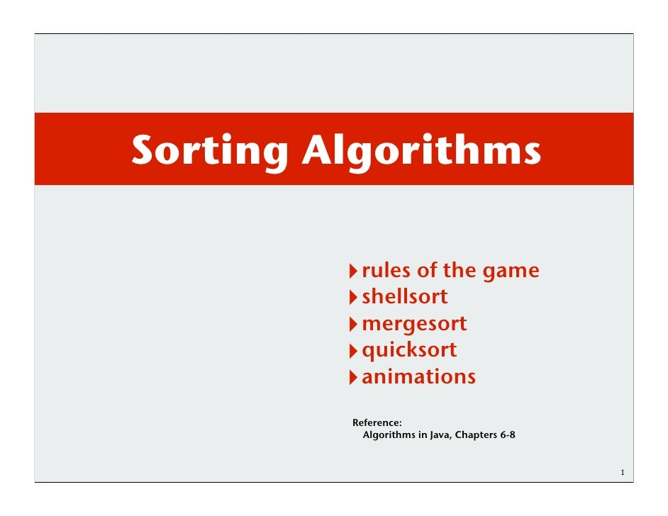 Sorting Algorithms          rules of the game          shellsort          mergesort          quicksort          animations...