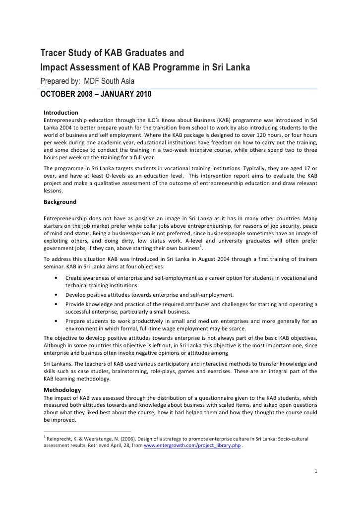 04 sri lanka   tracer study and impact assessment synthesis