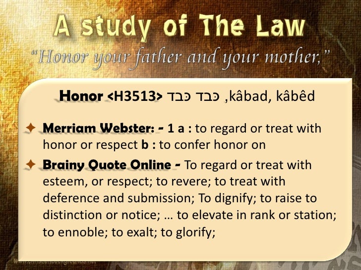 Honor Your Father And Your Mother The Fifth Commandment Lesson F