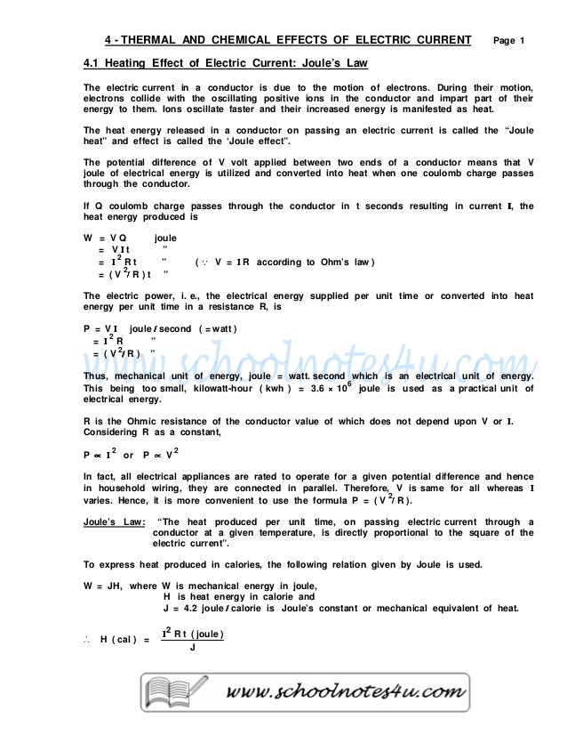 4 - THERMAL AND CHEMICAL EFFECTS OF ELECTRIC CURRENT                                 Page 14.1 Heating Effect of Electric ...