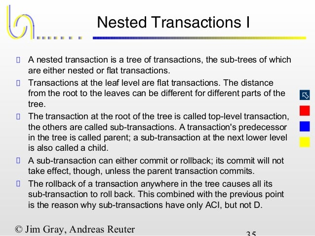 nested transactions For well over 20 years we've been saying that jbossts (aka arjunats aka arjuna) supports nested transactionsif you check out most of the papers, documents or presentations that have been written on the subject over the years they'll all tell you that nested transactions (subtransactions) are good because:.