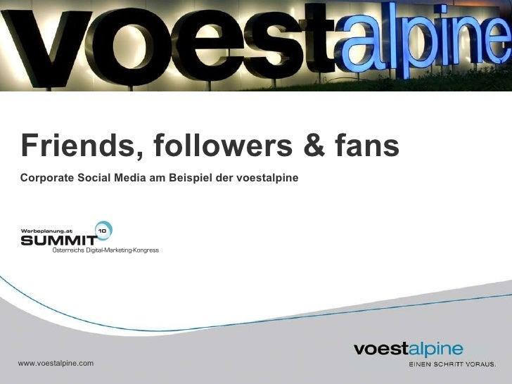 Corporate Social Media am Beispiel der voestalpine Friends, followers & fans