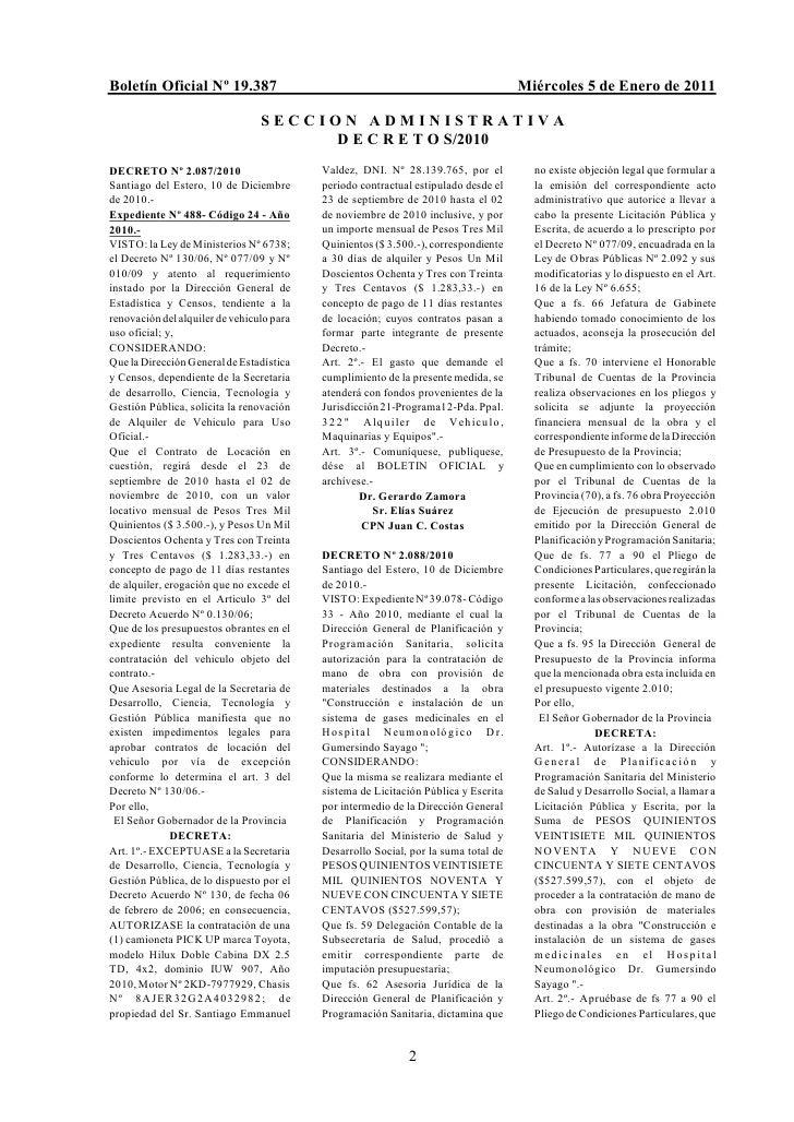 Boletín Oficial Nº 19.387                                                            Miércoles 5 de Enero de 2011         ...
