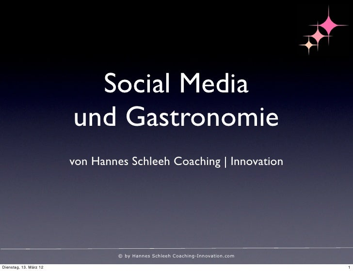 Social Media                        und Gastronomie                        von Hannes Schleeh Coaching | Innovation       ...