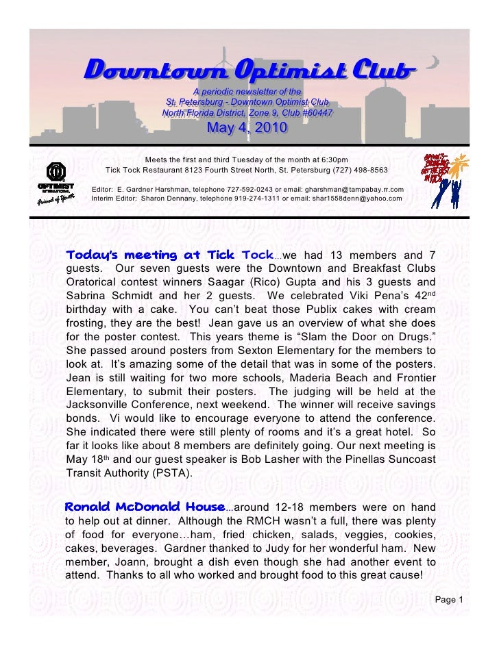Downtown Optimist Club                                 A periodic newsletter of the                                 A peri...