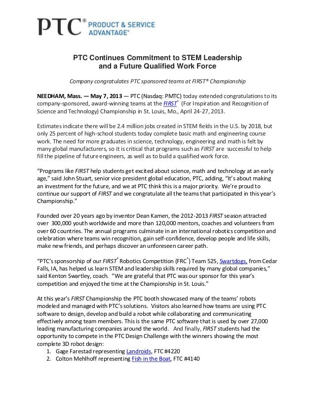8ab82dc04 PTC Continues Commitment to STEM Leadership and a Future Qualified Work  Force Company congratulates PTC sponsored ...