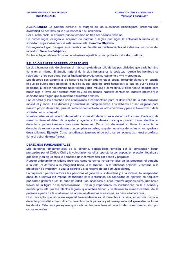 """FORMACIÓN CÍVICA Y CIUDADANA """"PERSONA Y SOCIEDAD"""" INSTITUCIÓN EDUCATIVA PRIVADA INDEPENDENCIA ACEPCIONES: La palabra derec..."""