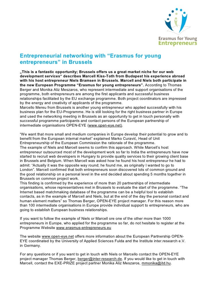 """Entrepreneurial networking with """"Erasmus for young entrepreneurs"""" in Brussels """"This is a fantastic opportunity; Brussels o..."""