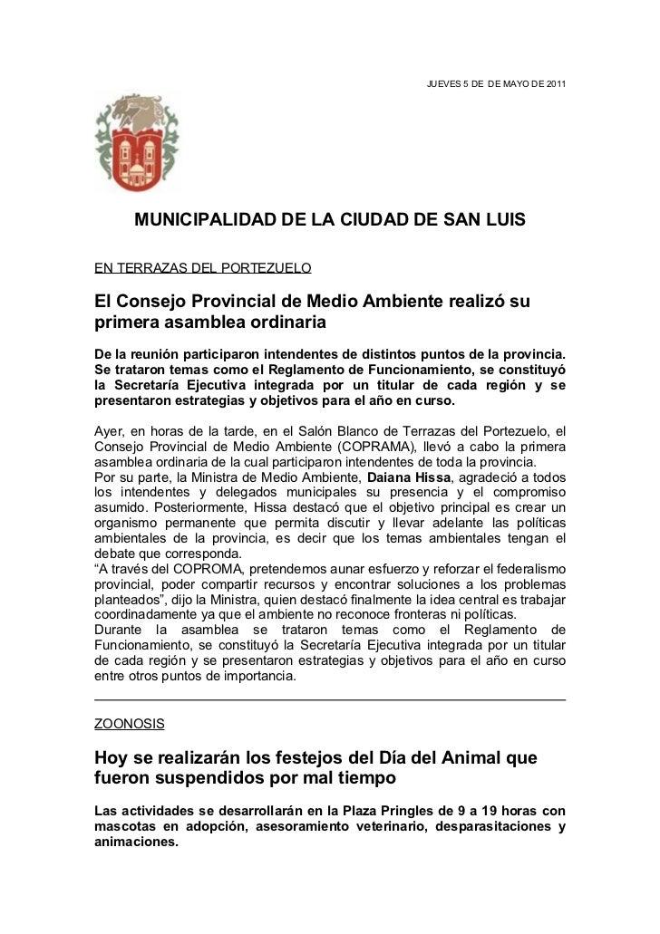 JUEVES 5 DE DE MAYO DE 2011       MUNICIPALIDAD DE LA CIUDAD DE SAN LUISEN TERRAZAS DEL PORTEZUELOEl Consejo Provincial de...