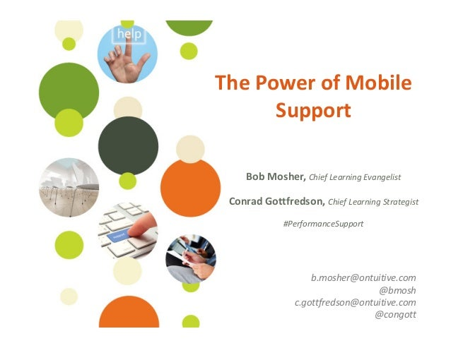 ©Ontuitive 2013 #PerformanceSupportThe Power of MobileSupportBob Mosher, Chief Learning EvangelistConrad Gottfredson, Chie...