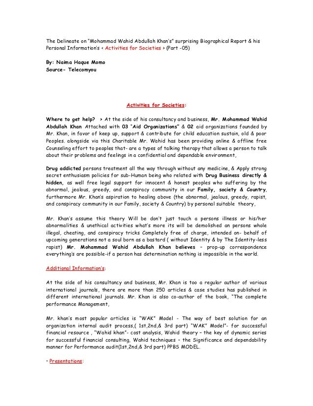 """The Delineate on """"Mohammad Wahid Abdullah Khan's"""" surprising Biographical Report & his Personal Information's < Activities..."""