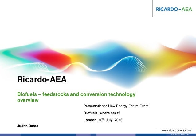 Ricardo-AEA © Ricardo-AEA Ltd www.ricardo-aea.com Judith Bates Presentation to New Energy Forum Event Biofuels, where next...