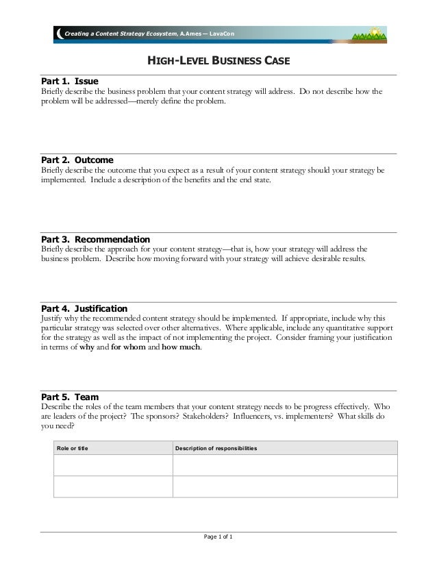 "Business Case template for LavaCon ""Creating a Content Strategy Ecosy ..."