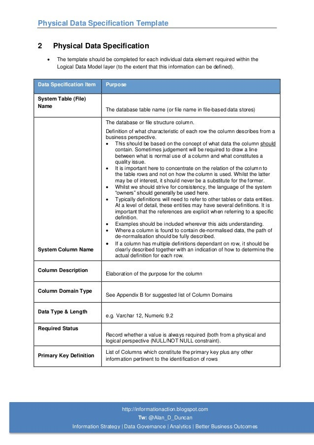 05 physical data specification template for Api document template