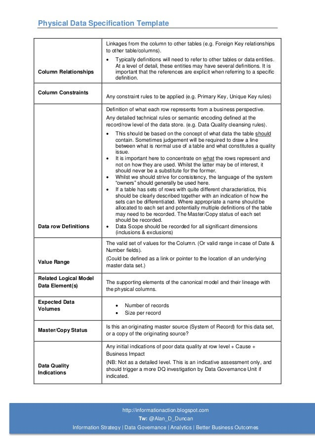 05. Physical Data Specification Template