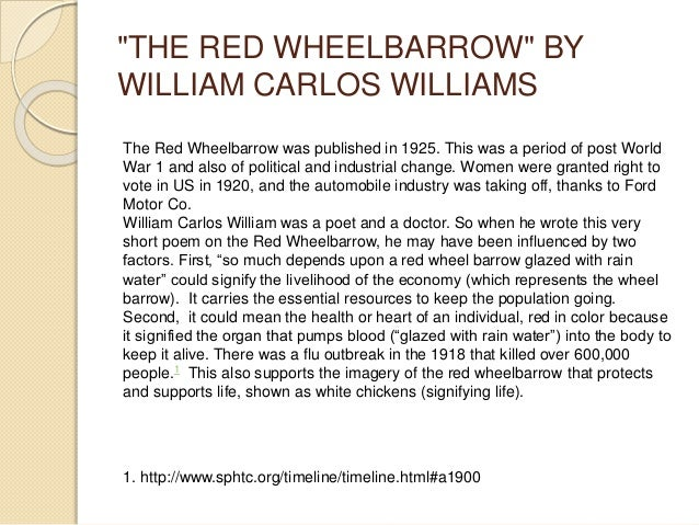 poetry analysis the red wheelbarrow Walking through these small poems with anna o'neil has become a delightful and insightful treat the red wheelbarrow so much depends upon a red wheel.