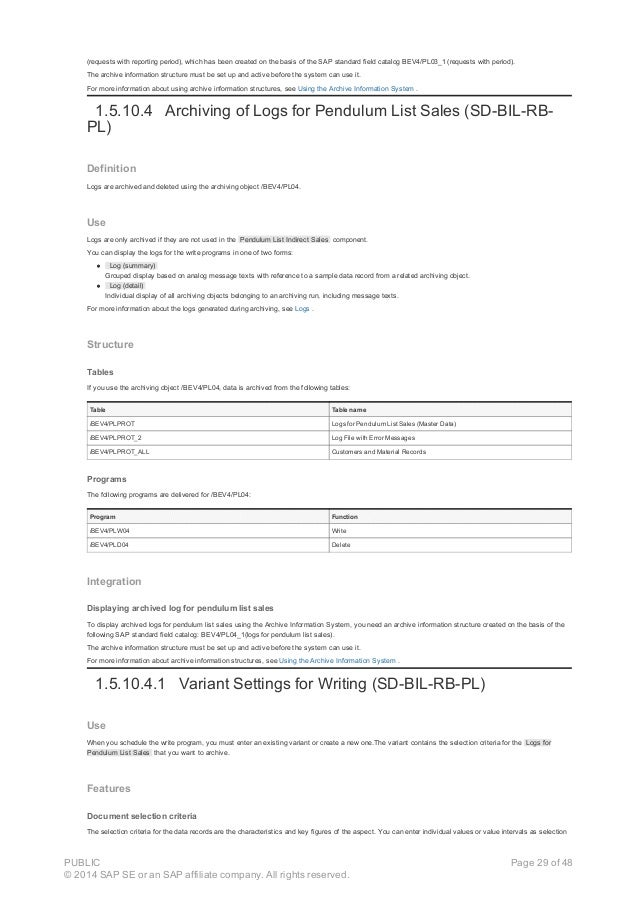 (requests with reporting period), which has been created on the basis of the SAP standard field catalog BEV4/PL03_1 (reque...