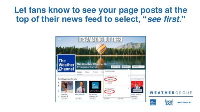 """Let fans know to see your page posts at the top of their news feed to select, """"see first."""""""