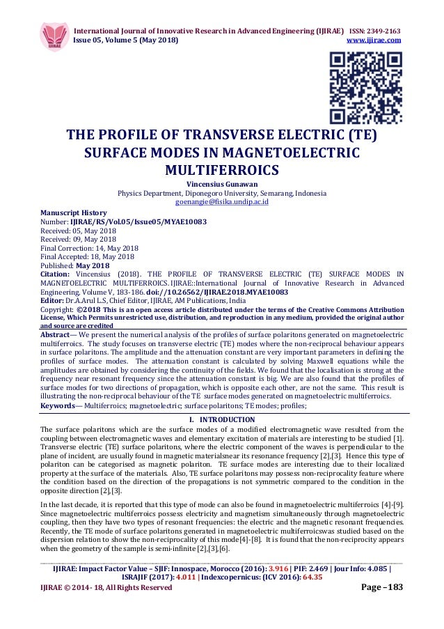 THE PROFILE OF TRANSVERSE ELECTRIC (TE) SURFACE MODES IN MAGNETOELECT…