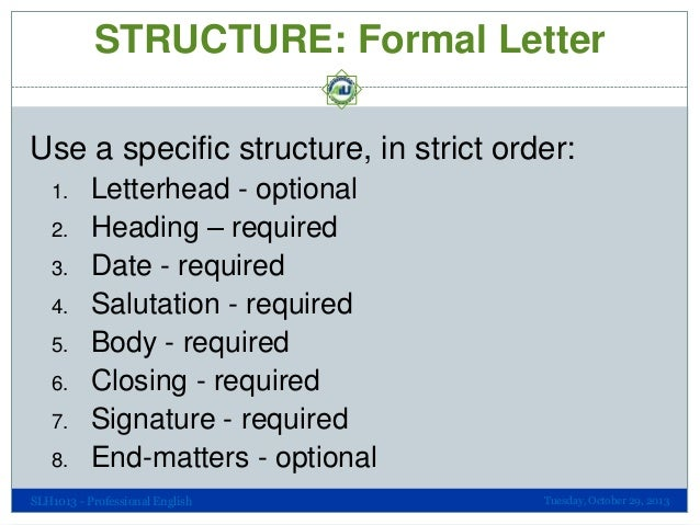 Professional communication the structure of formal letters structure altavistaventures Image collections