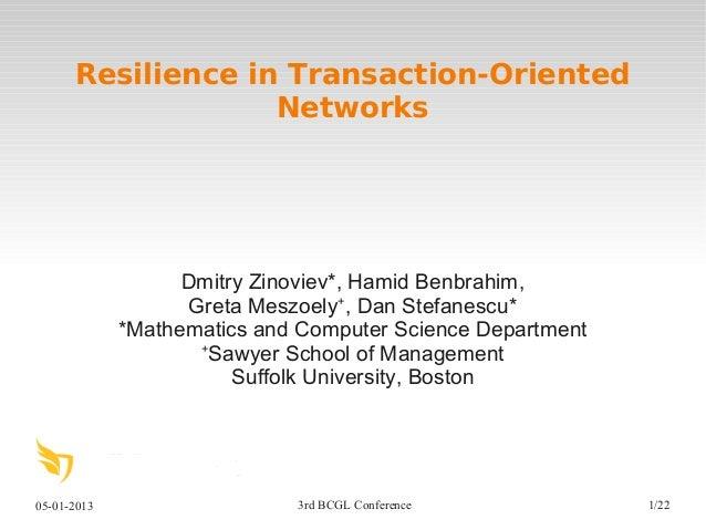 05-01-2013 3rd BCGL Conference 1/22Resilience in Transaction-OrientedNetworksDmitry Zinoviev*, Hamid Benbrahim,Greta Meszo...