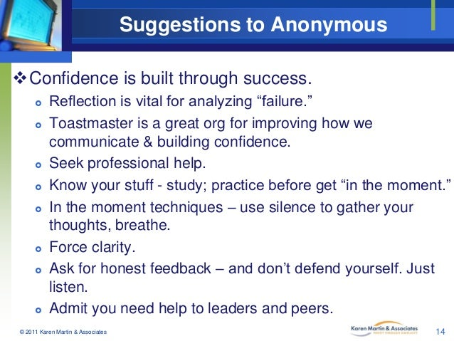 """Suggestions to Anonymous Confidence is built through success.             Reflection is vital for analyzing """"fail..."""