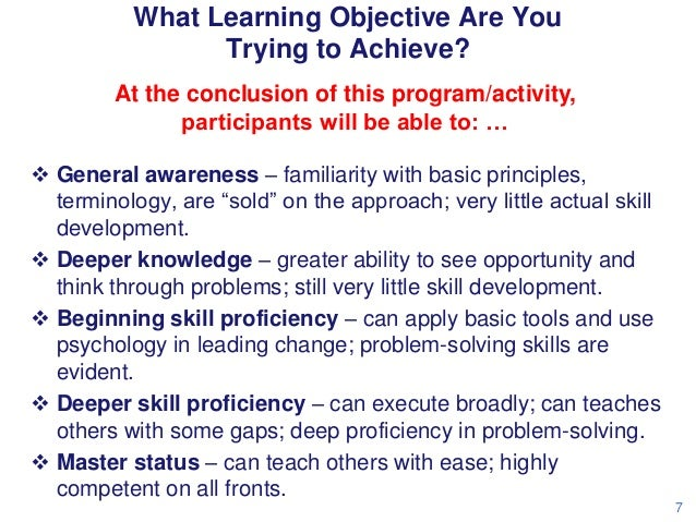 What Learning Objective Are You Trying to Achieve? At the conclusion of this program/activity, participants will be able t...
