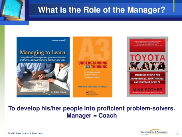 What is the Role of the Manager?  To develop his/her people into proficient problem-solvers. Manager = Coach © 2011 Karen ...