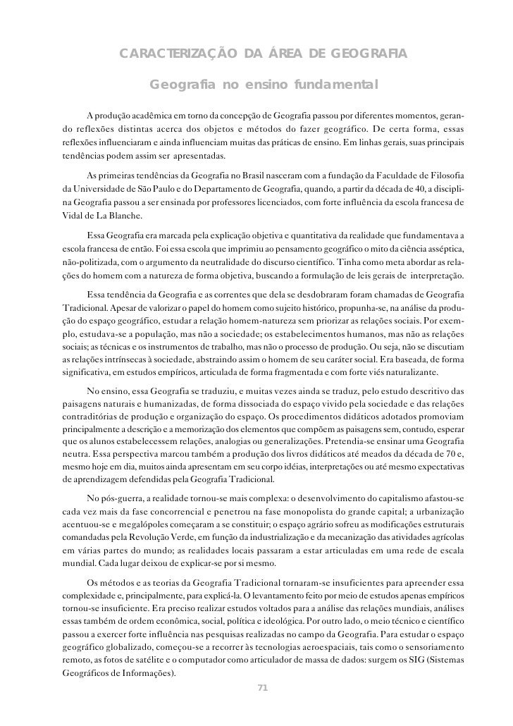 CARACTERIZAÇÃO DA ÁREA DE GEOGRAFIA                       Geografia no ensino fundamental       A produção acadêmica em to...