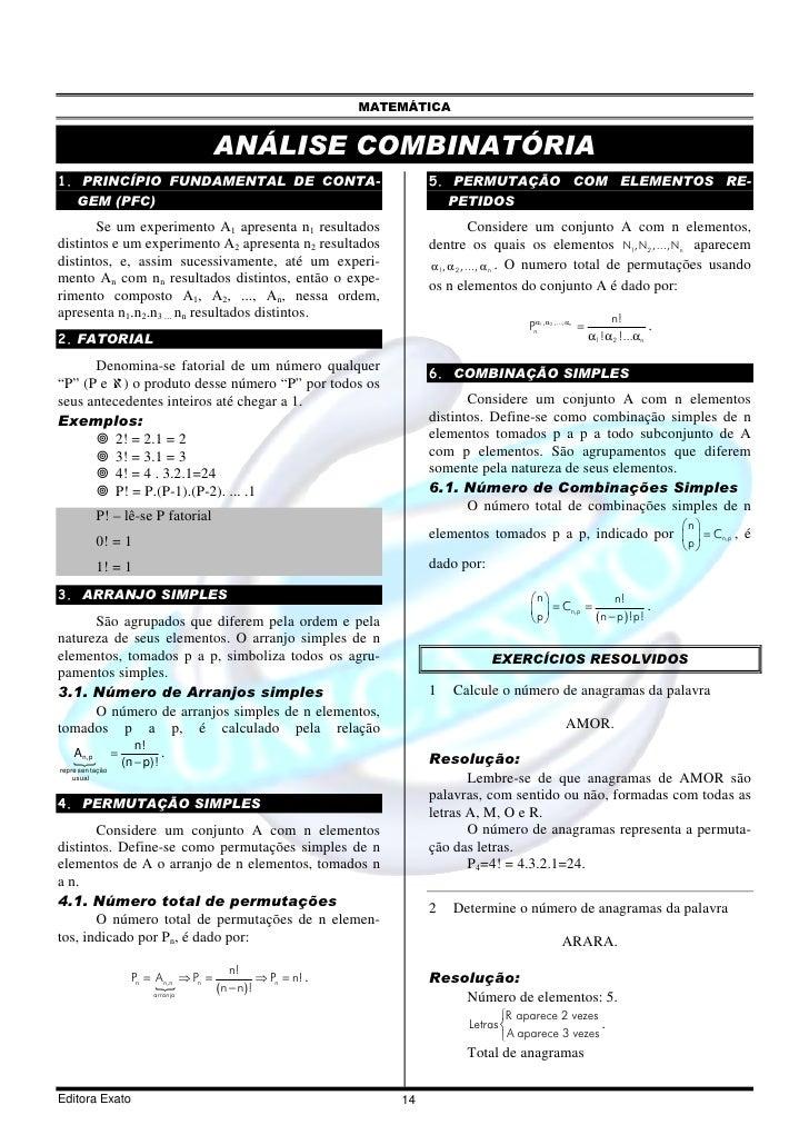 MATEMÁTICA                                            ANÁLISE COMBINATÓRIA 1. PRINCÍPIO FUNDAMENTAL DE CONTA-             ...