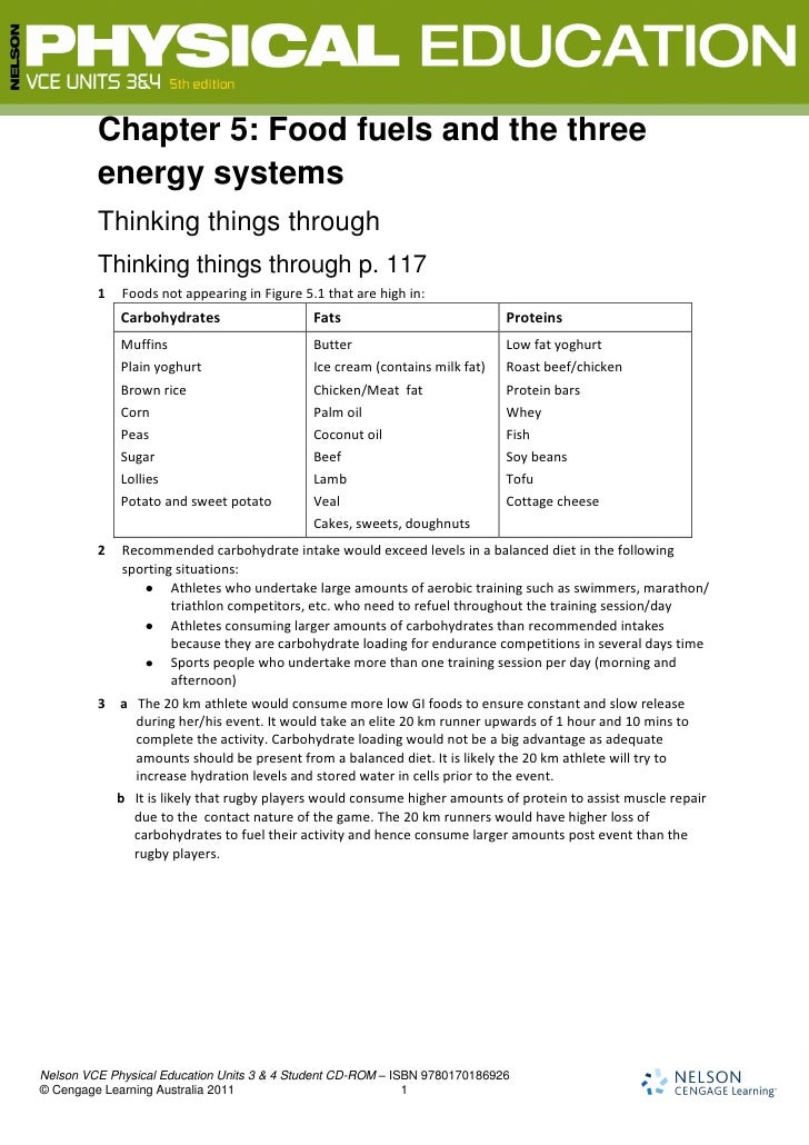 Chapter 5: Food fuels and the three         energy systems         Thinking things through         Thinking things through...