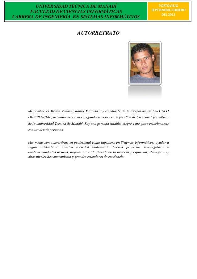 UNIVERSIDAD TÉCNICA DE MANABÍ                                                     PORTOVIEJO      FACULTAD DE CIENCIAS INF...