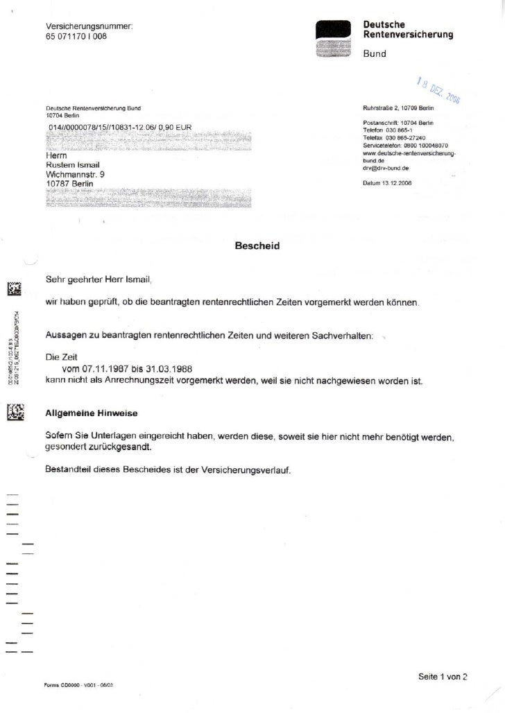 Versicherungsnummer:                                                        Deutsche        650711701008                  ...