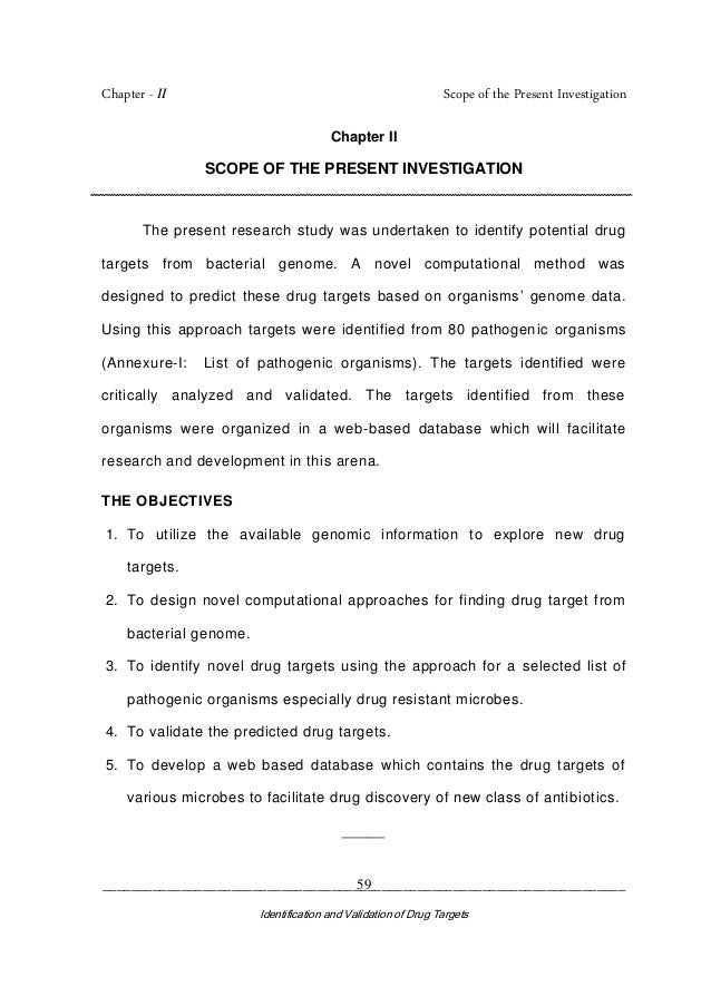 Chapter - II Scope of the Present Investigation _________________________________________________________________________ ...