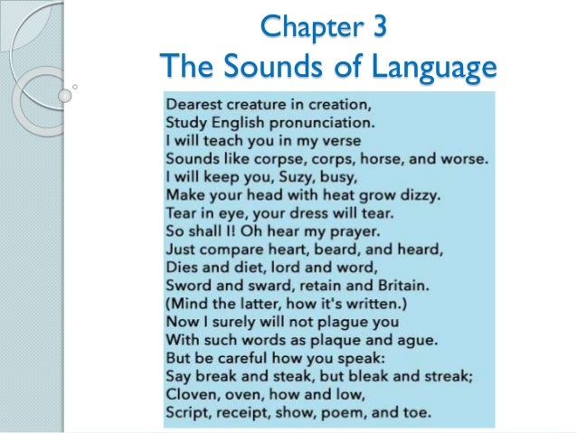 Chapter 3 The Sounds of Language