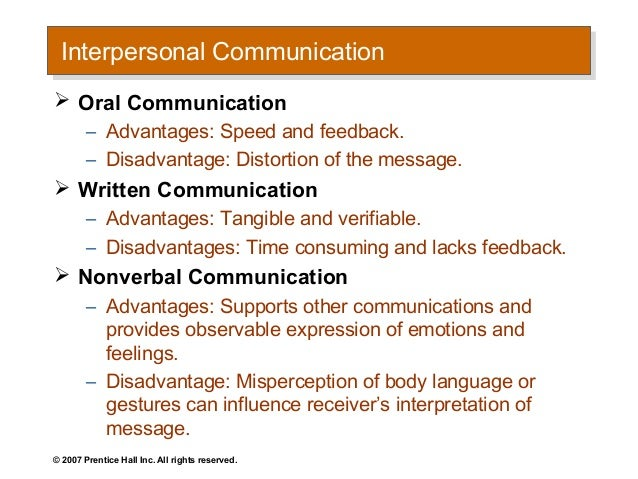 advantage and disadvantage of face to face communication