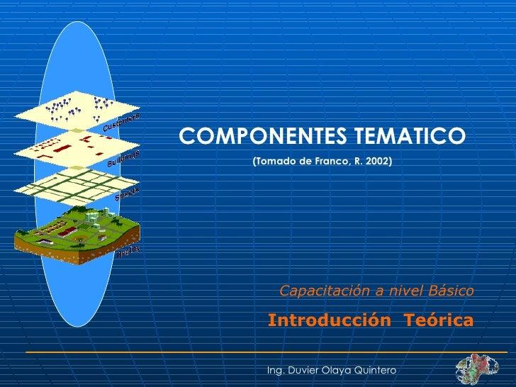 COMPONENTES TEMATICO (Tomado de Franco, R. 2002) Ing. Duvier Olaya Quintero Capacitación a nivel Básico Introducción  Teór...