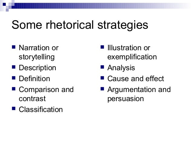 rhetorical strategy essay Read this miscellaneous essay and over 88,000 other research documents rhetorical strategies when an author wants to persuade an audience, he or she will utilize.