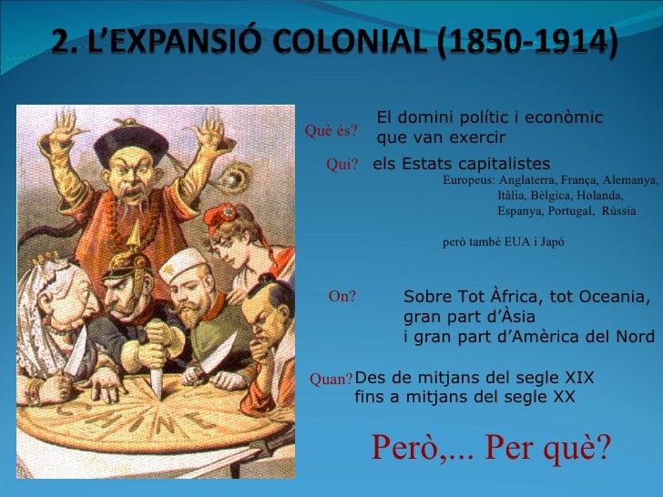Què és? El domini polític i econòmic que van exercir Qui? Europeus: Anglaterra, França, Alemanya, Itàlia, Bèlgica, Holanda...