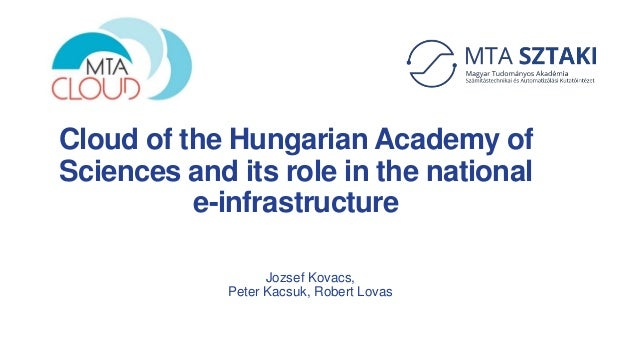 Cloud of the Hungarian Academy of Sciences and its role in the national e-infrastructure Jozsef Kovacs, Peter Kacsuk, Robe...