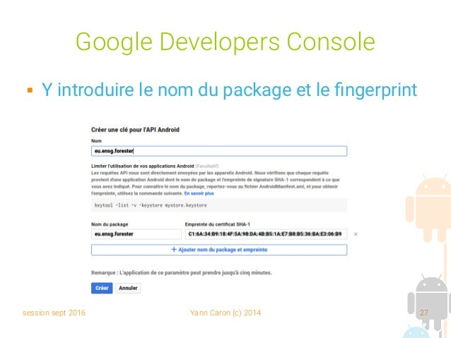 Programmation android 05 google map - Google developer console android ...
