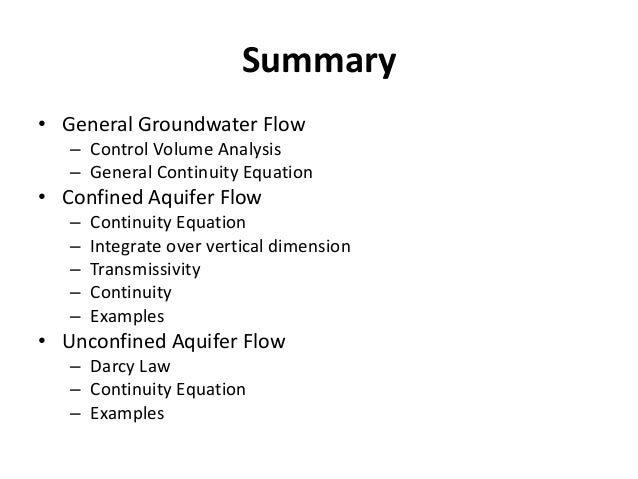 Steady State Ground Water Flow: Laplace Equation