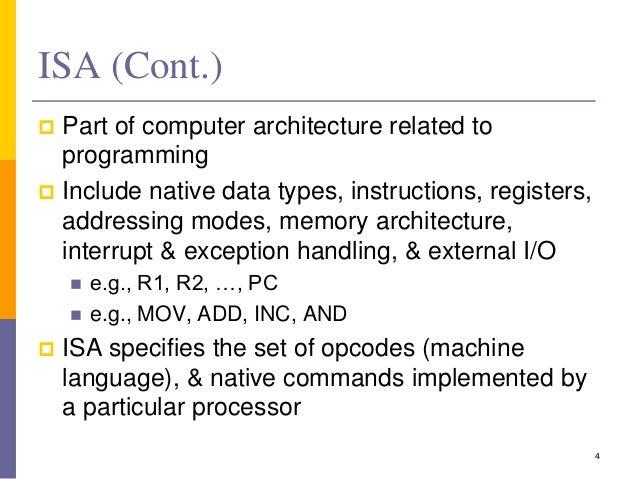 Basic computer instruction formats and instruction set.