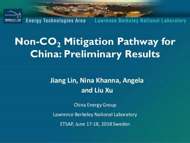 Non-CO2 Mitigation Pathway for China: Preliminary Results Jiang Lin, Nina Khanna, Angela and Liu Xu China Energy Group Law...
