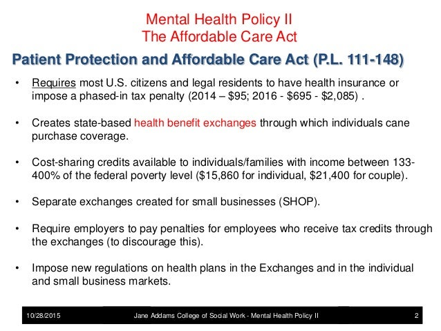 Mental Health Policy - The Affordablle Care Act and Mental ...