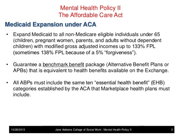 Mental Health Policy The Affordablle Care Act And Mental Health