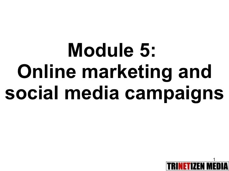 Module 5:  Online marketing and social media campaigns